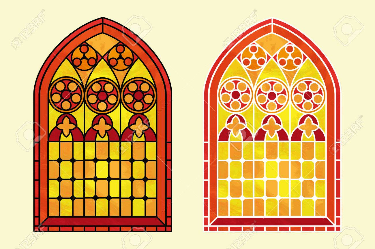 A Gothic Style Stained Glass Window In Warm Tones Of Red Orange And Yellow