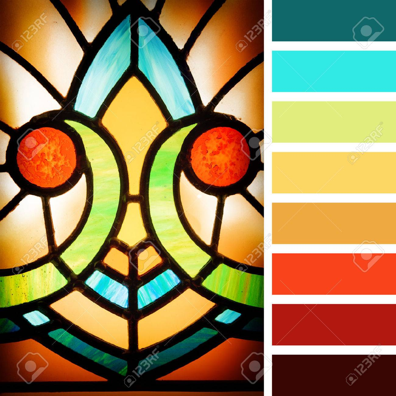 Art Deco Styles Stained Glass Detail In A Colour Palette With