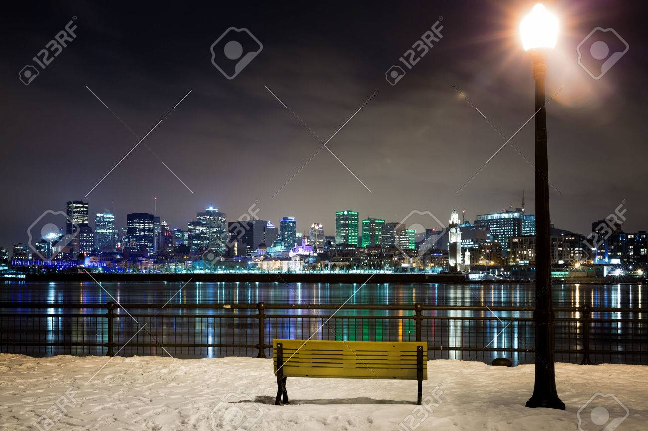 A Winter Night In Montreal Park Bench And Street Light With Stock