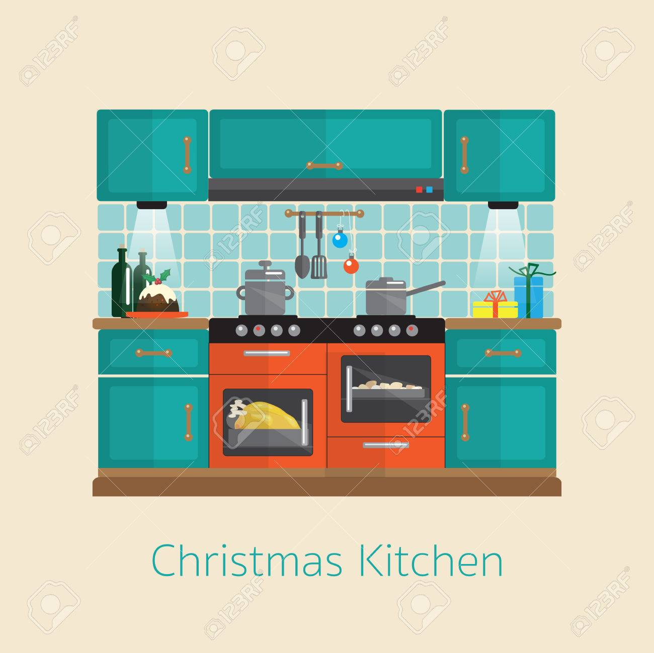 Cooking Christmas Dinner. Flat Style Kitchen Design During The ...