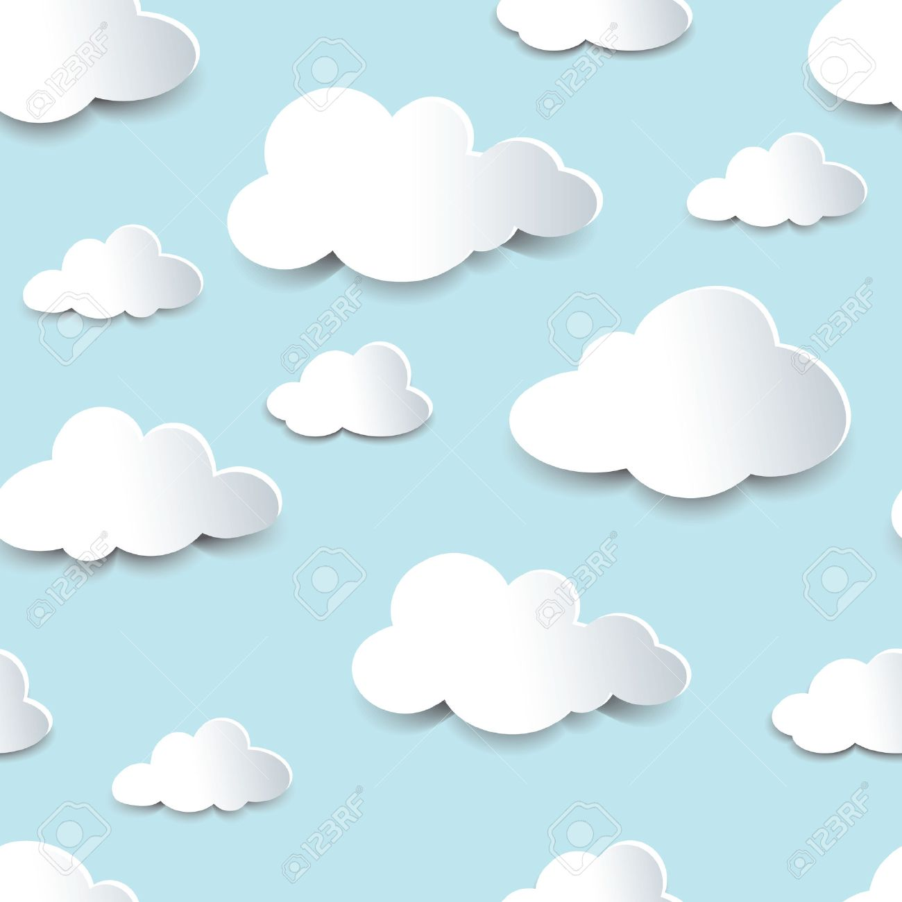 Seamless background of fluffy clouds, paper cutout with shadow effect. - 51690844