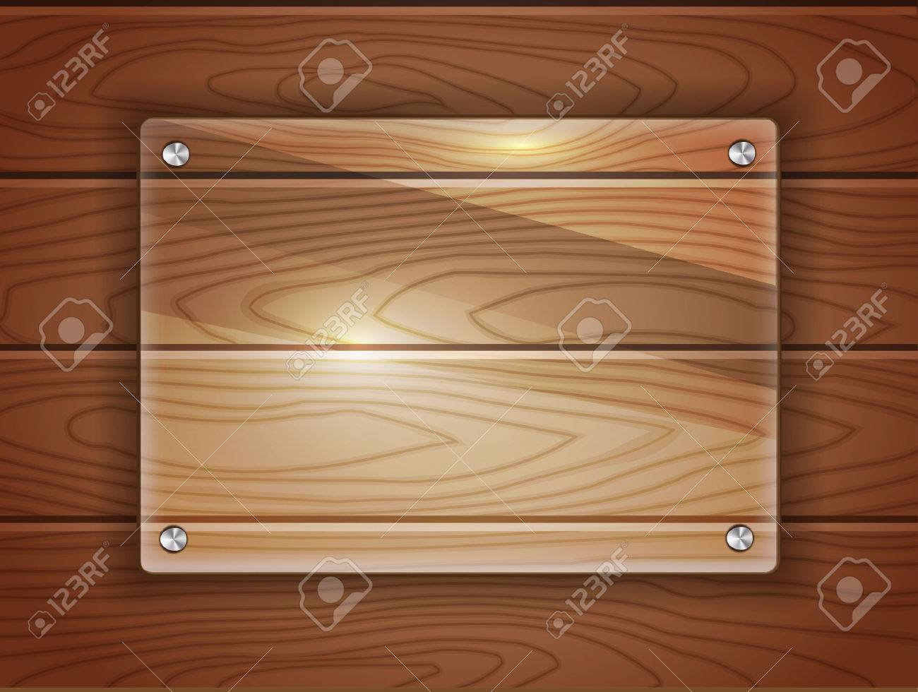 Realistic glass plaque over dark wood background. Space for your text. vector format. - 54716077