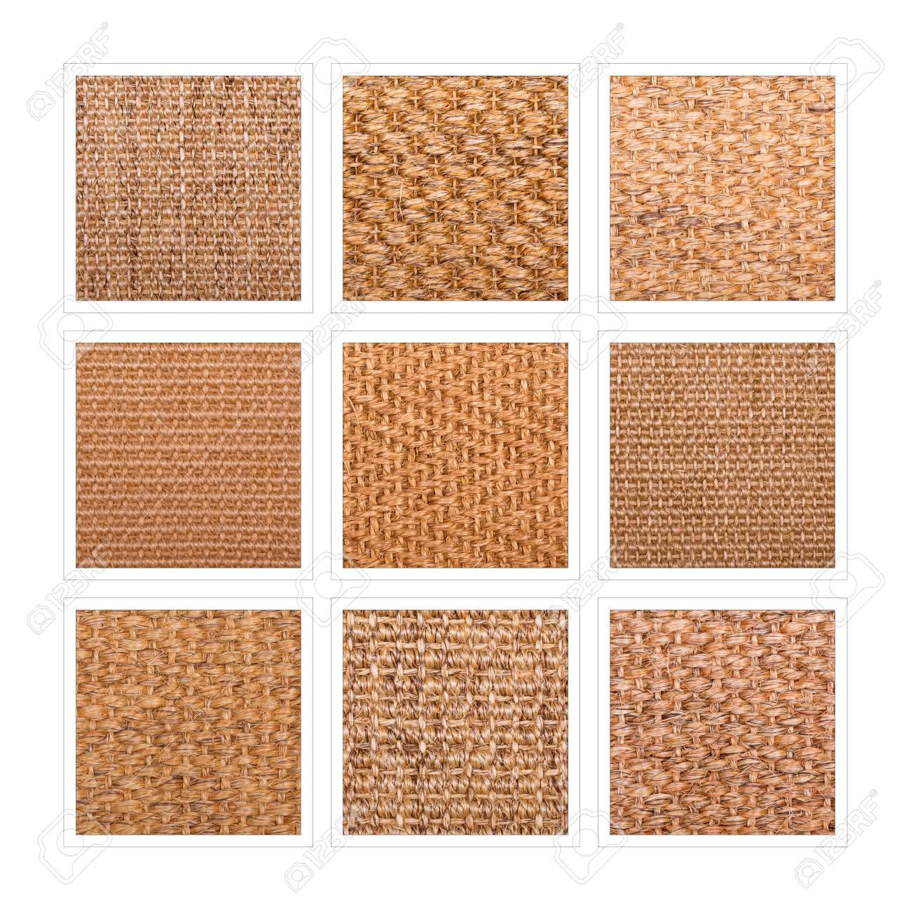 A nine square collage of sisal flooring samples showing a variety of weaves and patterns. - 62251717