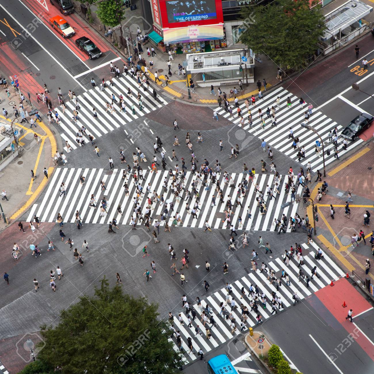 Tokyo, Japan - 26th June 2016: Ariel view of the busy Shibuya