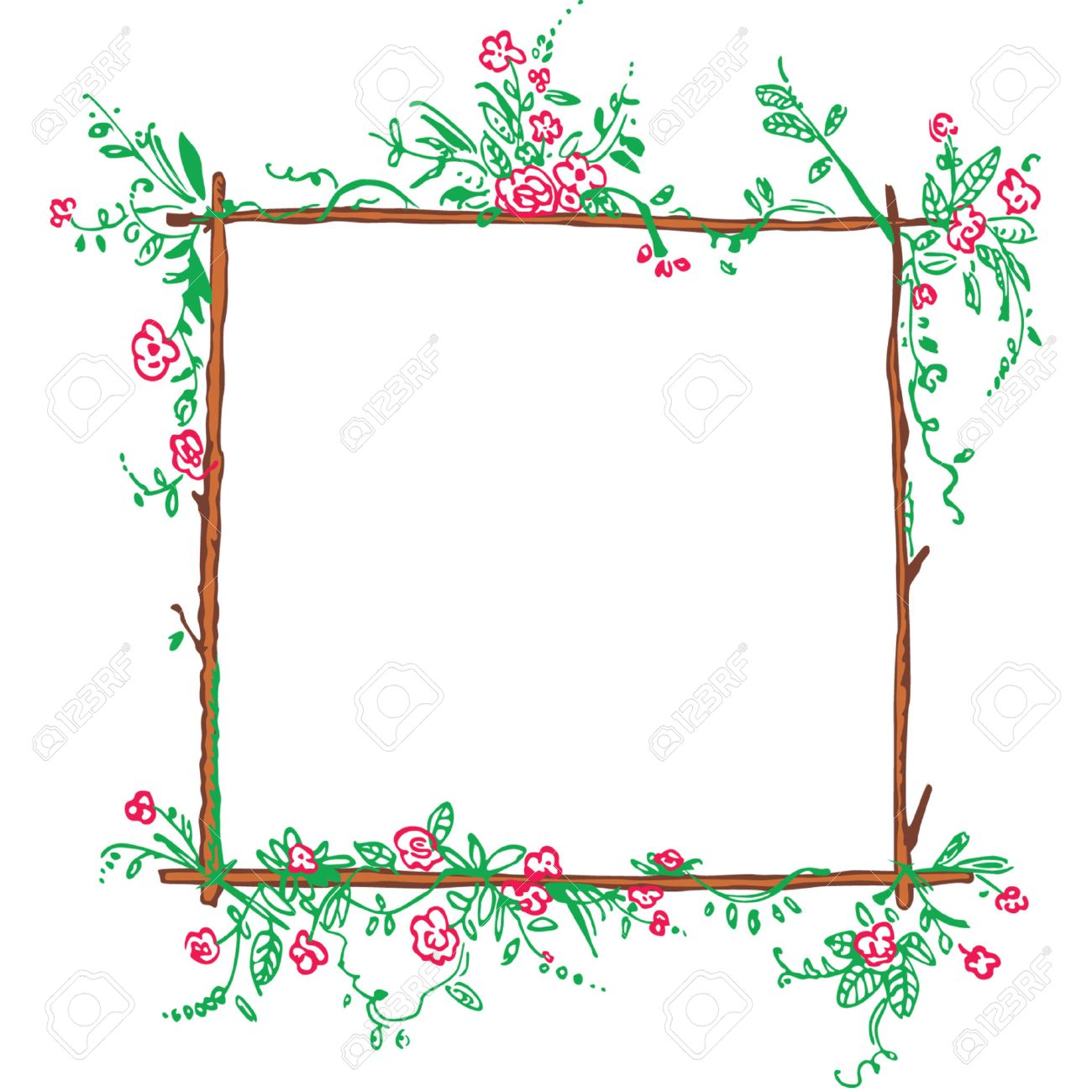 2a997eeca6f Funny Floral Green Frame With Red Flowers Royalty Free Cliparts ...