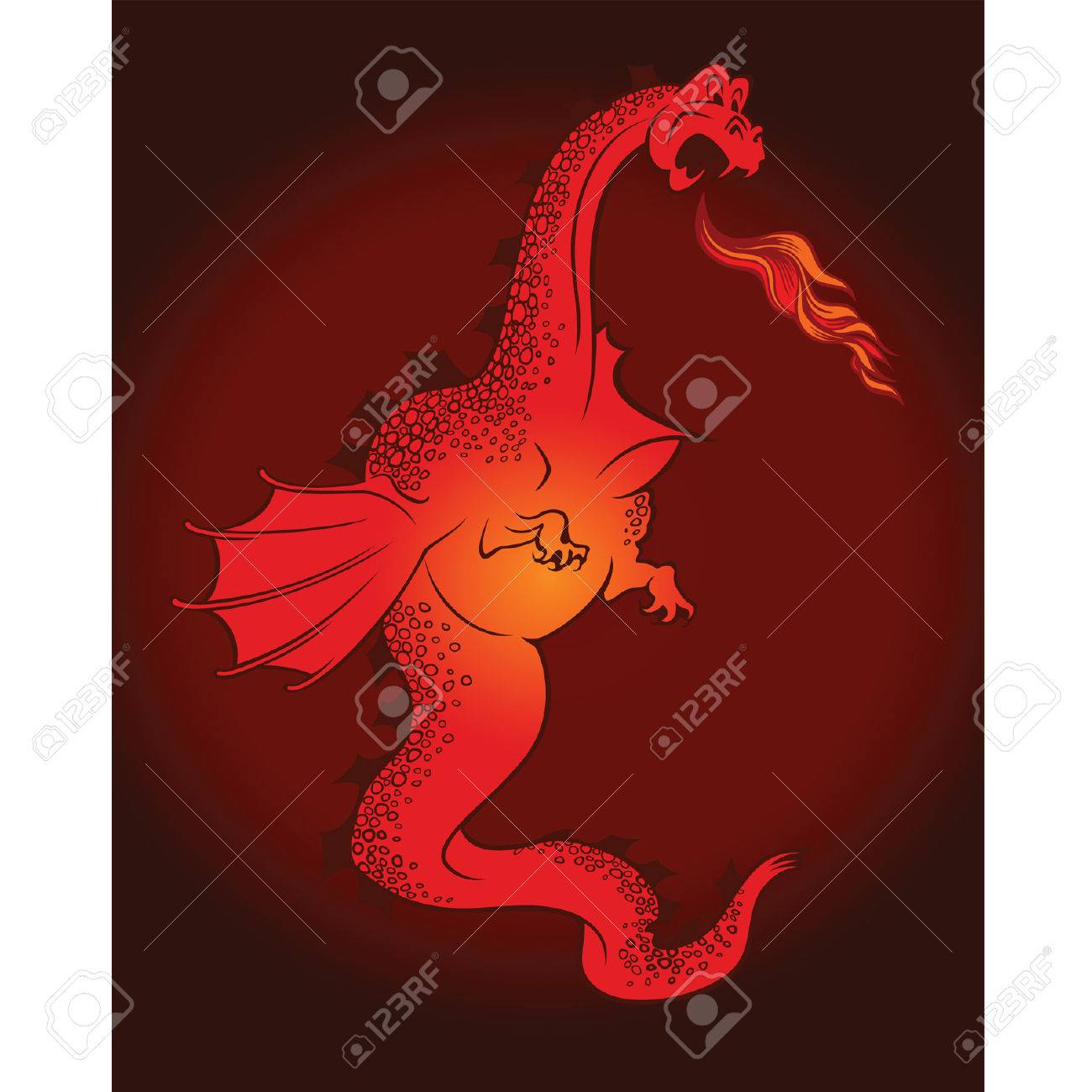 Cartoon red dragon with wings Stock Vector - 8863521