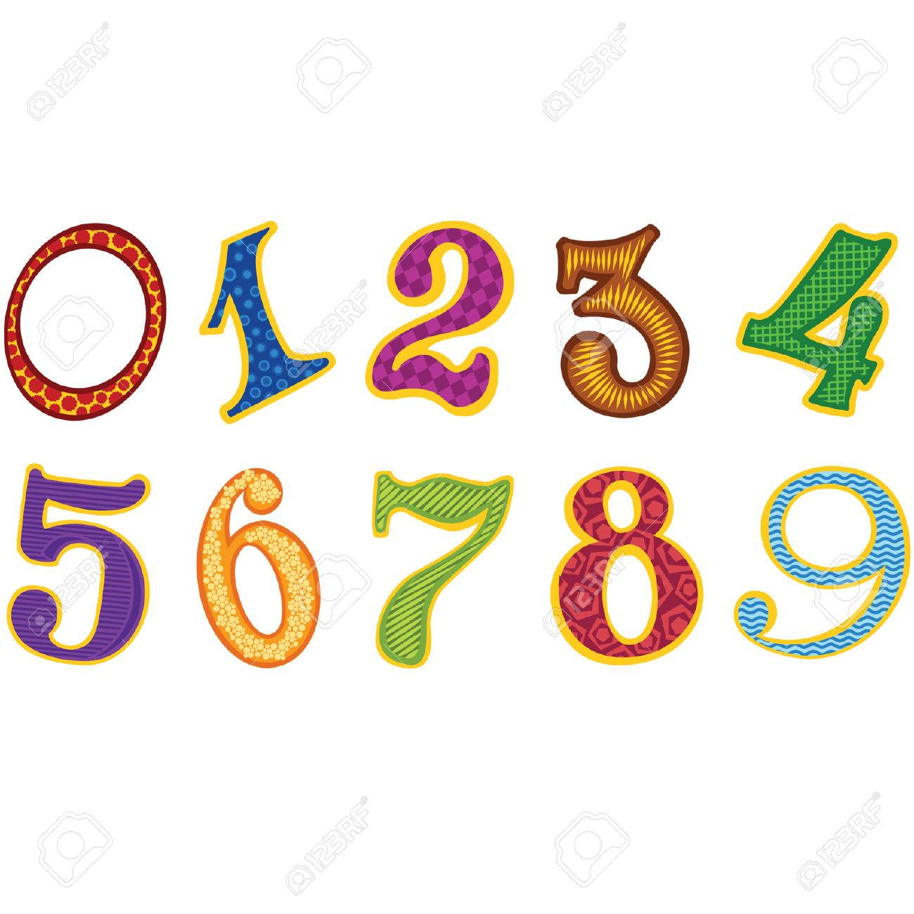 Set of cartoon color decor numbers Stock Vector - 8976281