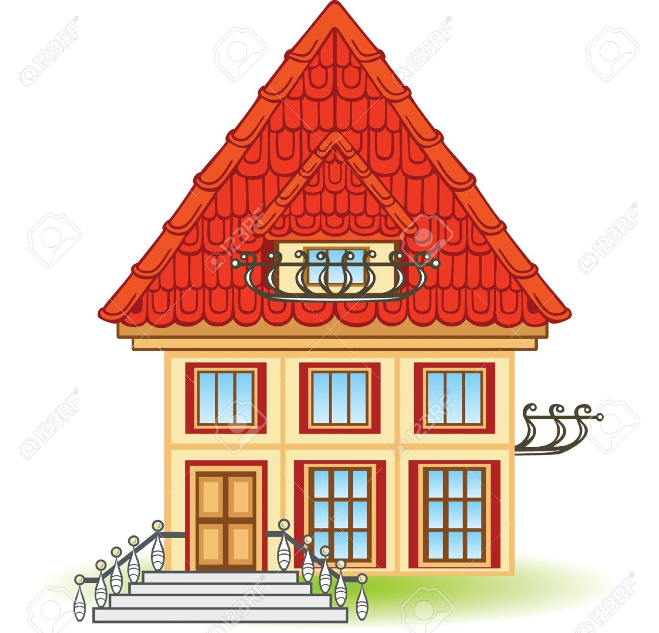 toit de maison dessin Banque du0027images - Maison de dessin animé avec toit rouge et balcon