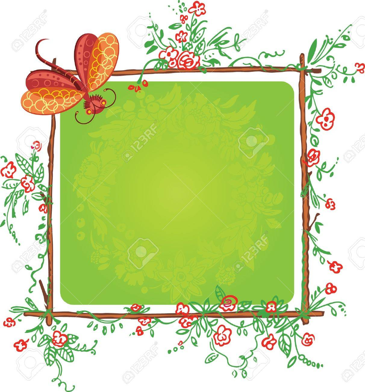 funny floral color frame with butterfly Stock Vector - 9828065