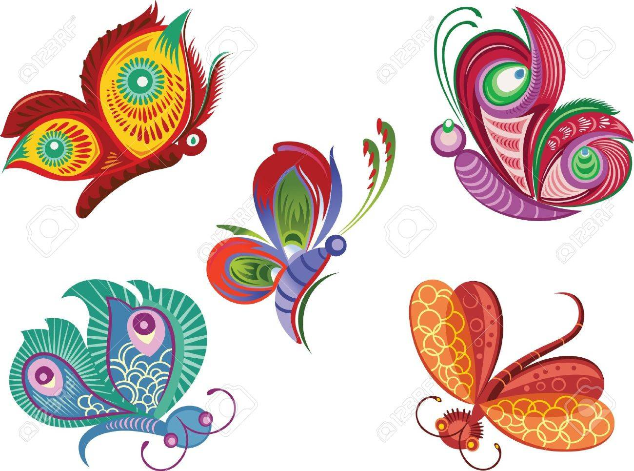 Vector color illustration of decorative butterfly and dragonfly Stock Vector - 10144881
