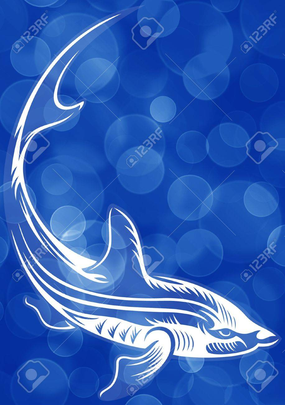 Blue bubble background with big fish Stock Photo - 17359050