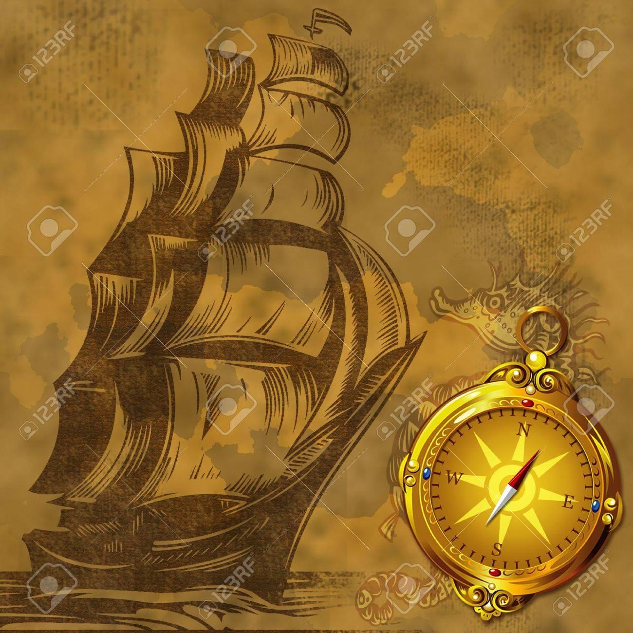 Fondo Antiguo Barco De época Con Brújula Antiguo Del Oro Fotos