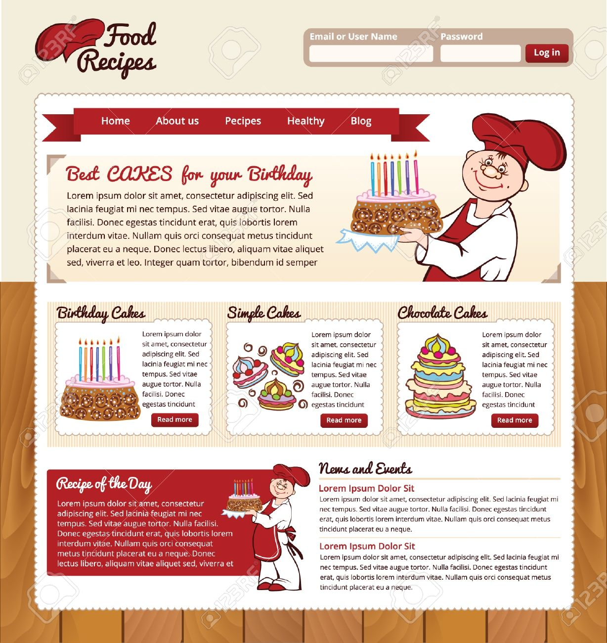 Food recipes template for website royalty free cliparts vectors food recipes template for website stock vector 19156752 forumfinder Images