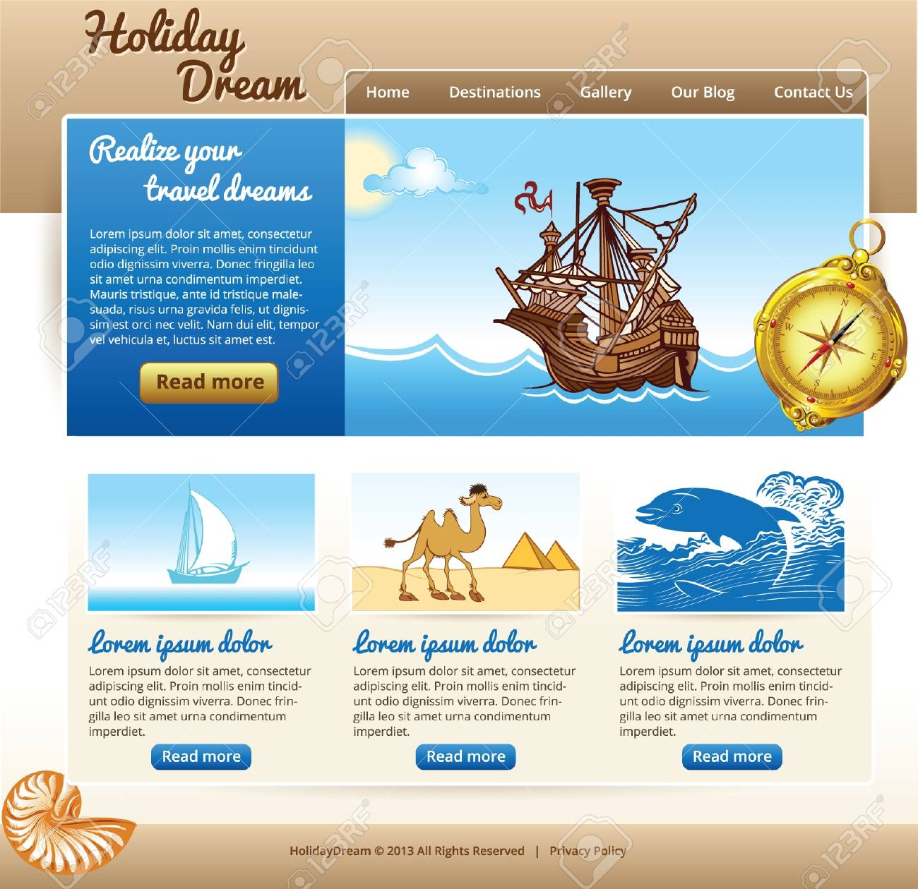 template for travel site with old ship and compass Stock Vector - 19534680