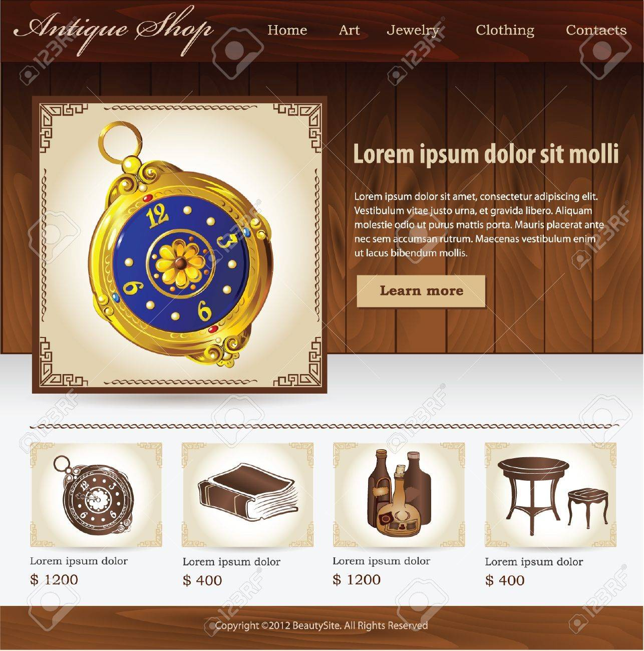 Design template for Antique shop website Stock Vector - 19534682