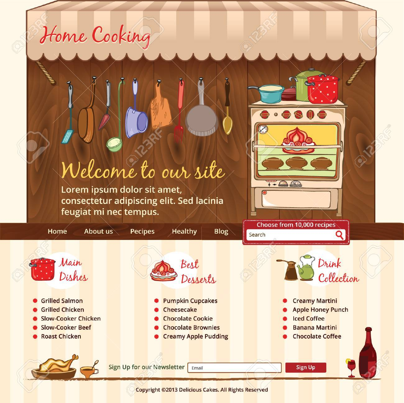 Home Cooking Web Template Royalty Free Cliparts, Vectors, And Stock ...