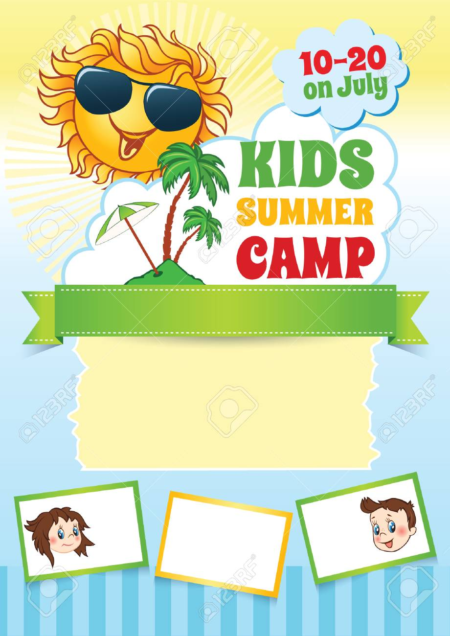 summer kid camp template vector background with cartoon smiling