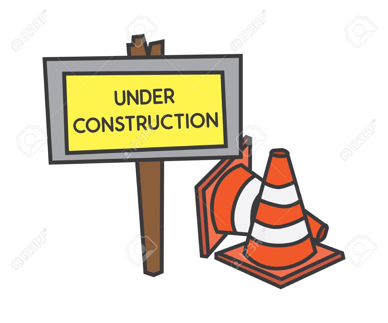 Under Construction Cartoon Design Illustration Royalty Free Cliparts Vectors And Stock Illustration Image 95980348
