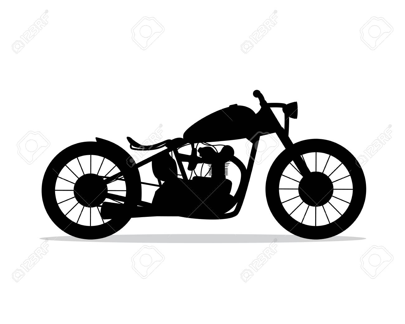 Motorcycle Silhouette Design Illustration Silhouette Style Design