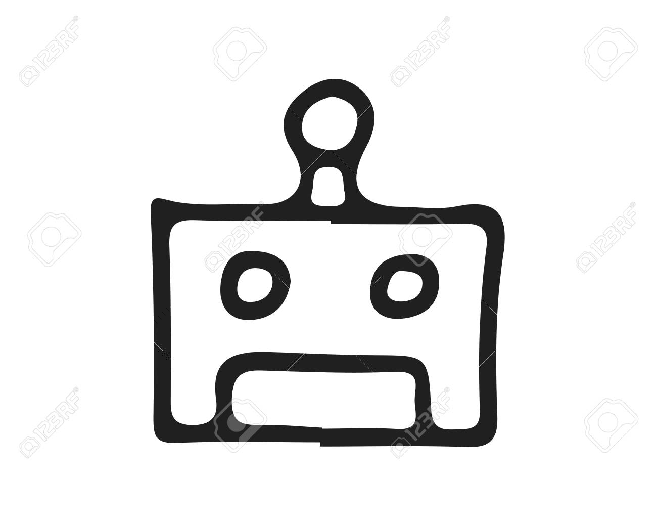 robot icon design illustration,hand drawn style design, designed