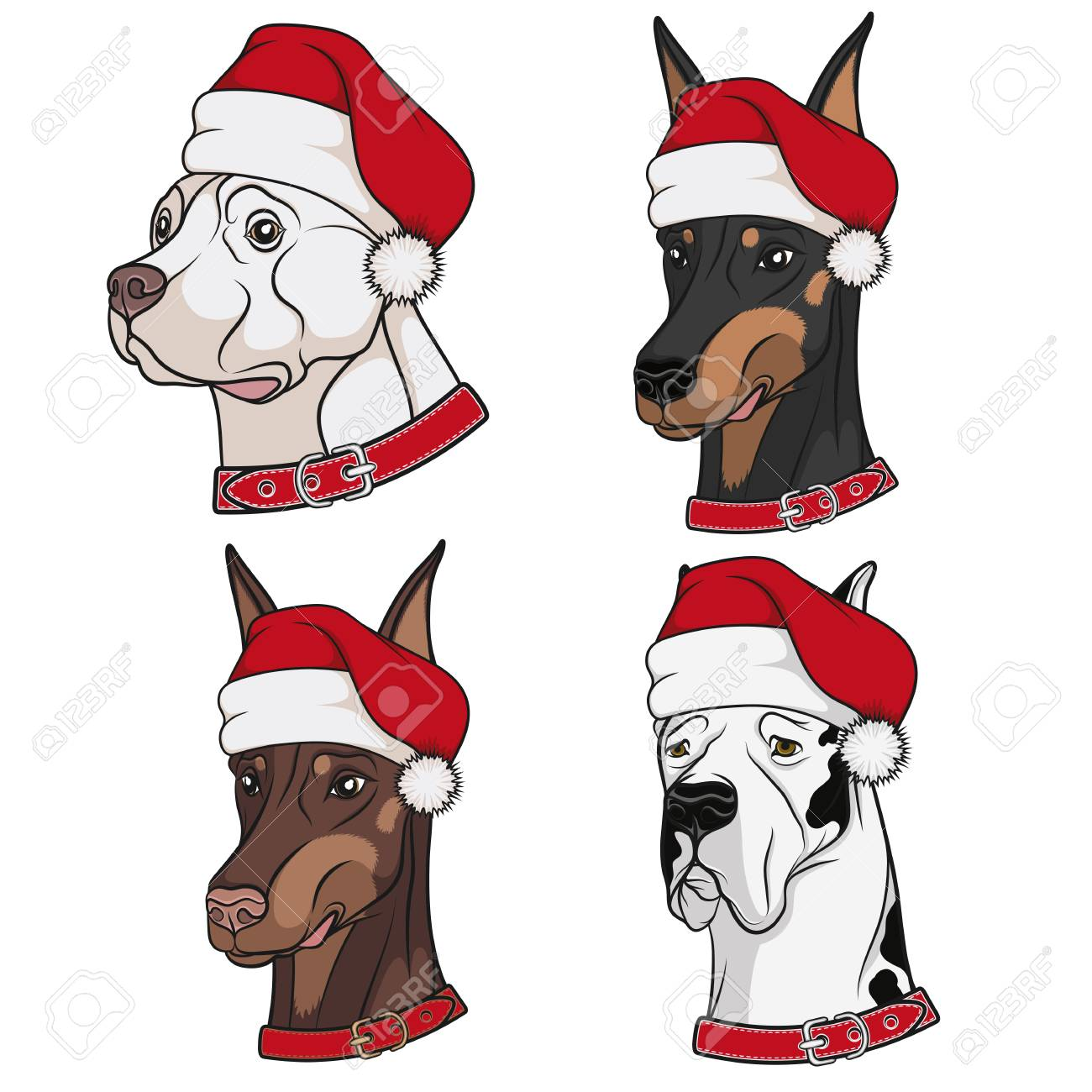 Christmas Hats For Dogs.Set Of Illustrations With Cute Dogs In Christmas Hats Isolated