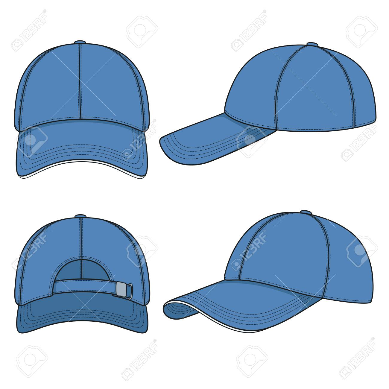 f5fd36ea9be0c Set of color illustrations with a blue baseball cap. Isolated..