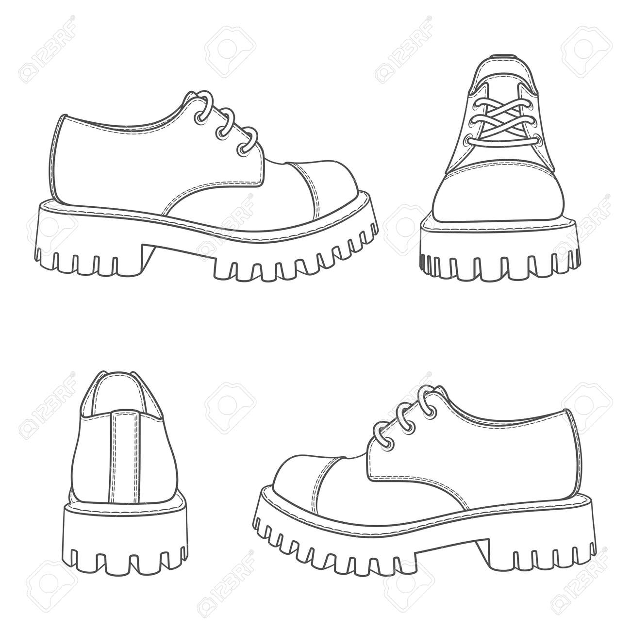 Set of black and white illustrations with boots. Isolated vector objects on white background. - 158610394