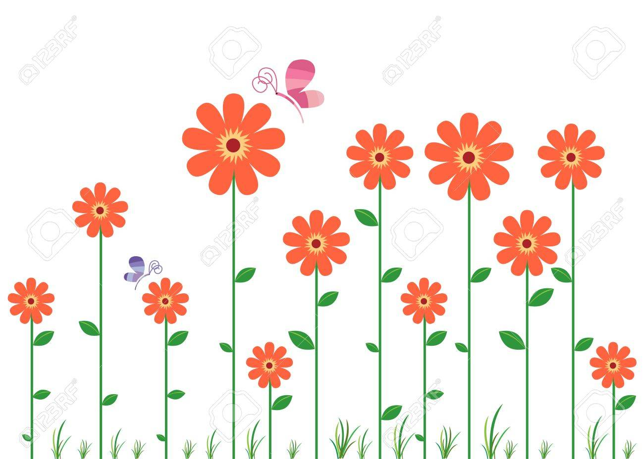 Red Flowers Decal Stock Vector - 13163662