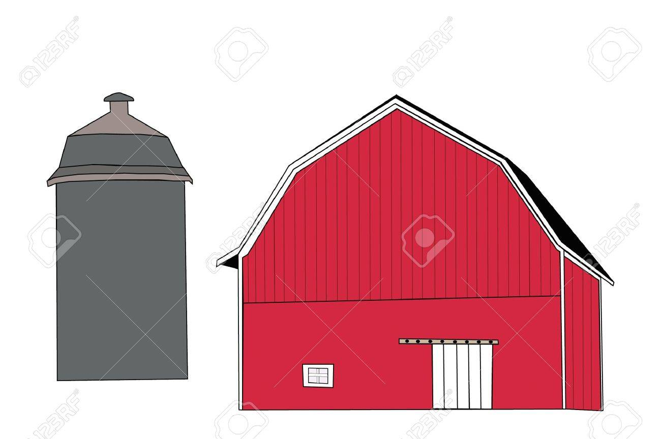 Cow on green pasture with red barn with grain silo royalty free stock - Red Barn Doors Classic Red Barn With Silo