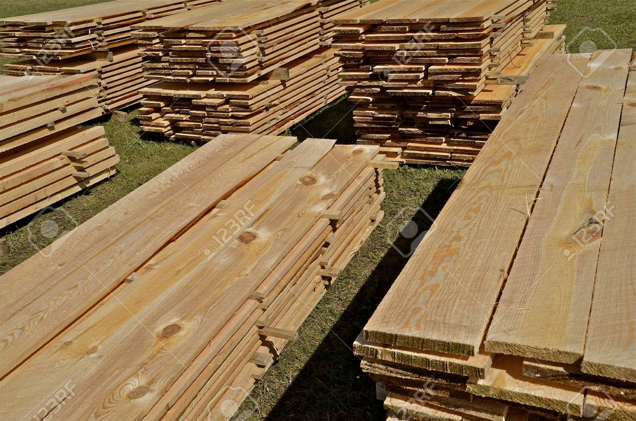 Stacks Of Lumber From The Sawmill Air Drying After Being Cut ...