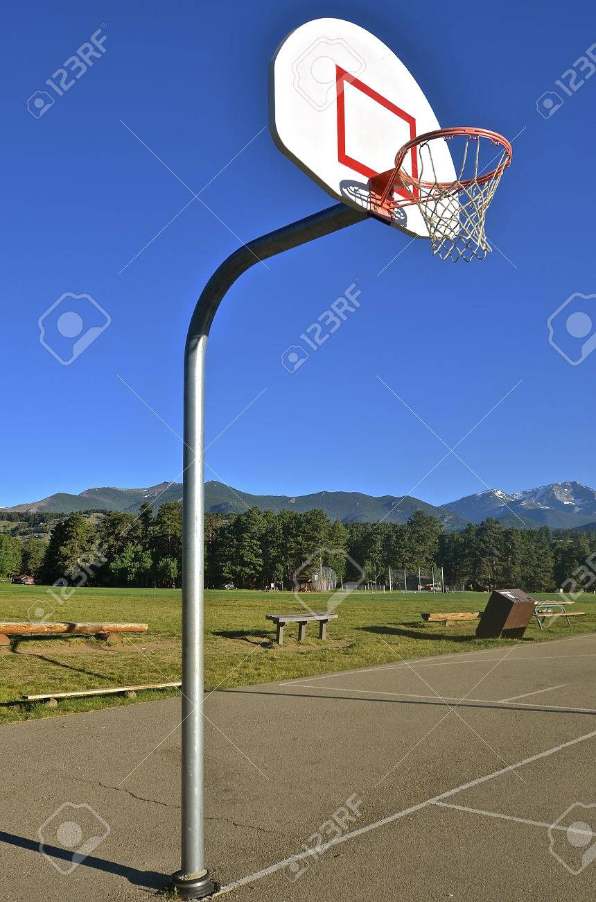 outdoor basketball court with hoop rim net and backboard