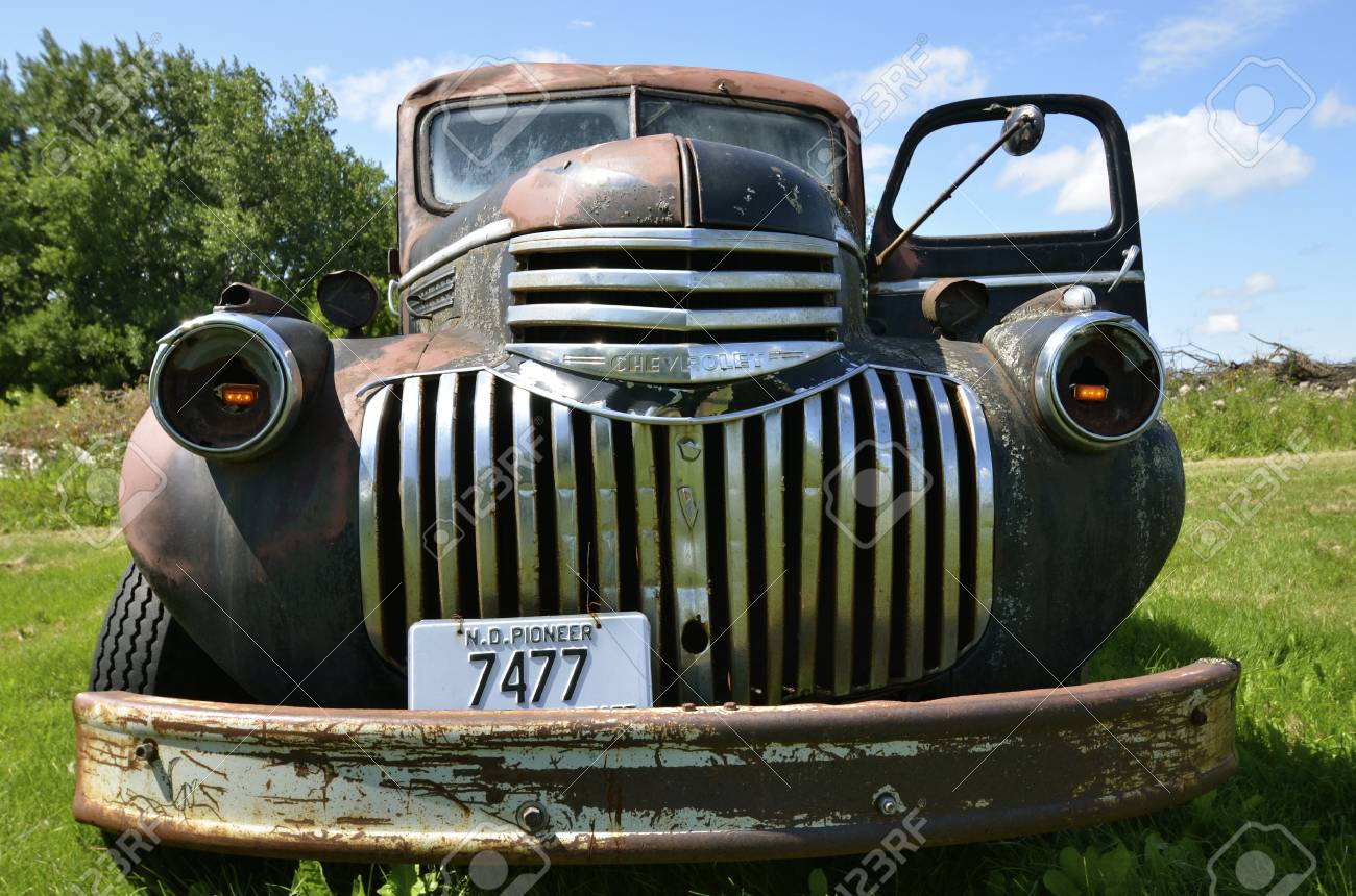 DOWNER, MINNESOTA, August 10, 2014: The old pickup from the 40's