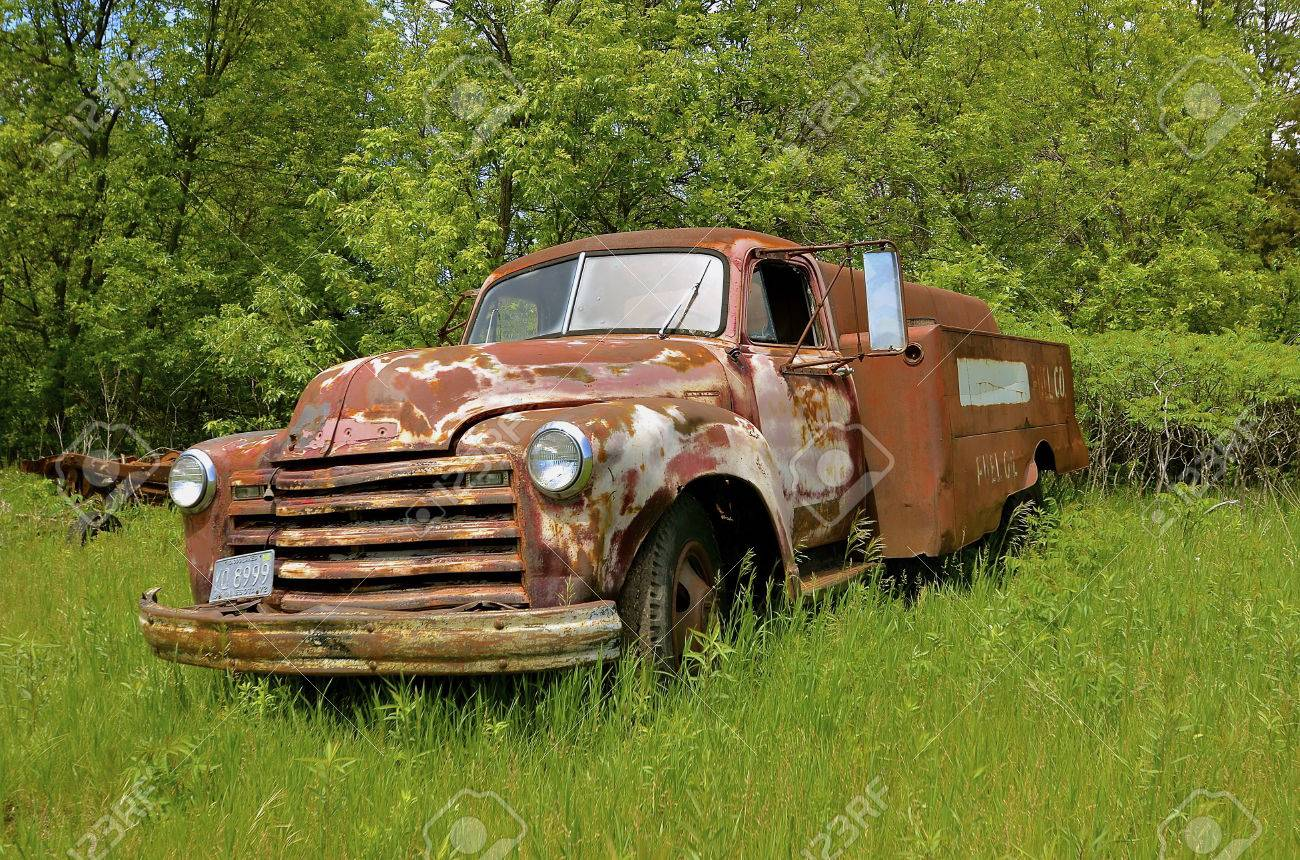 An Old Rusty 50\'s Dilapidated Fuel Delivery Truck Is Parked Out ...