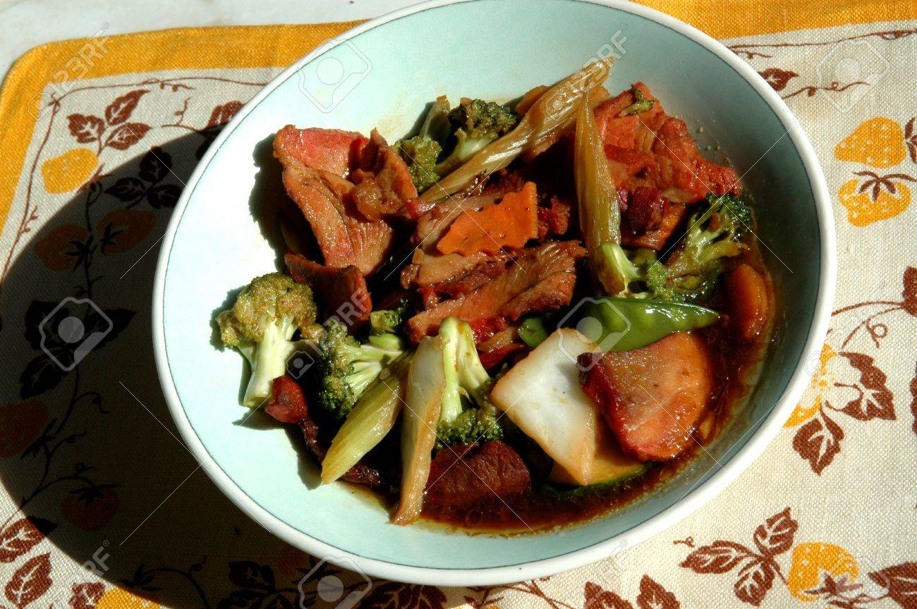 Roast Pork With Mixed Vegetables Chinese Food Stock Photo 394876
