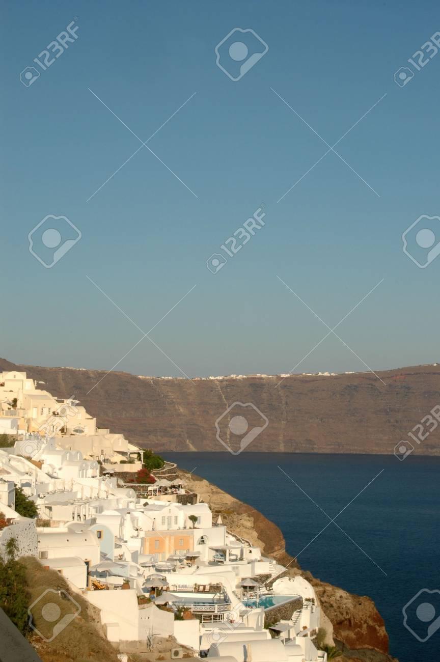 cliffside hotels and villas in oia santorini greece islands Stock Photo - 537606