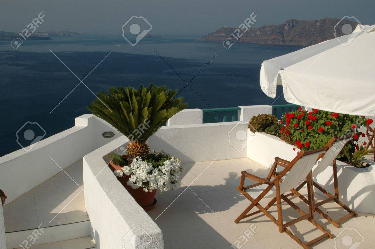 greek island patio with incredible view santorini greece Stock Photo - 588411