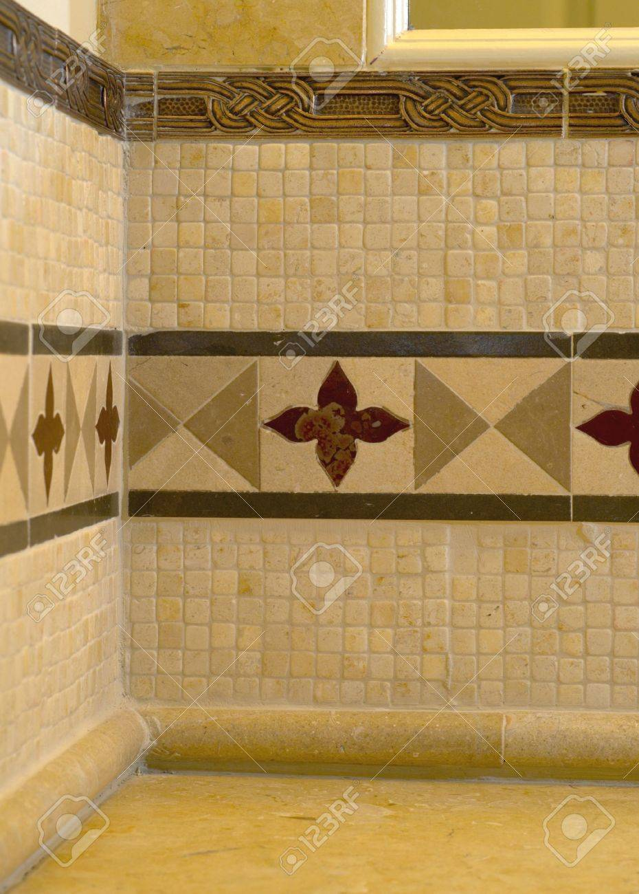 Tile work in bathrooms - Detail Custom Tile Work Bathroom Backsplash Wall Stock Photo 682439