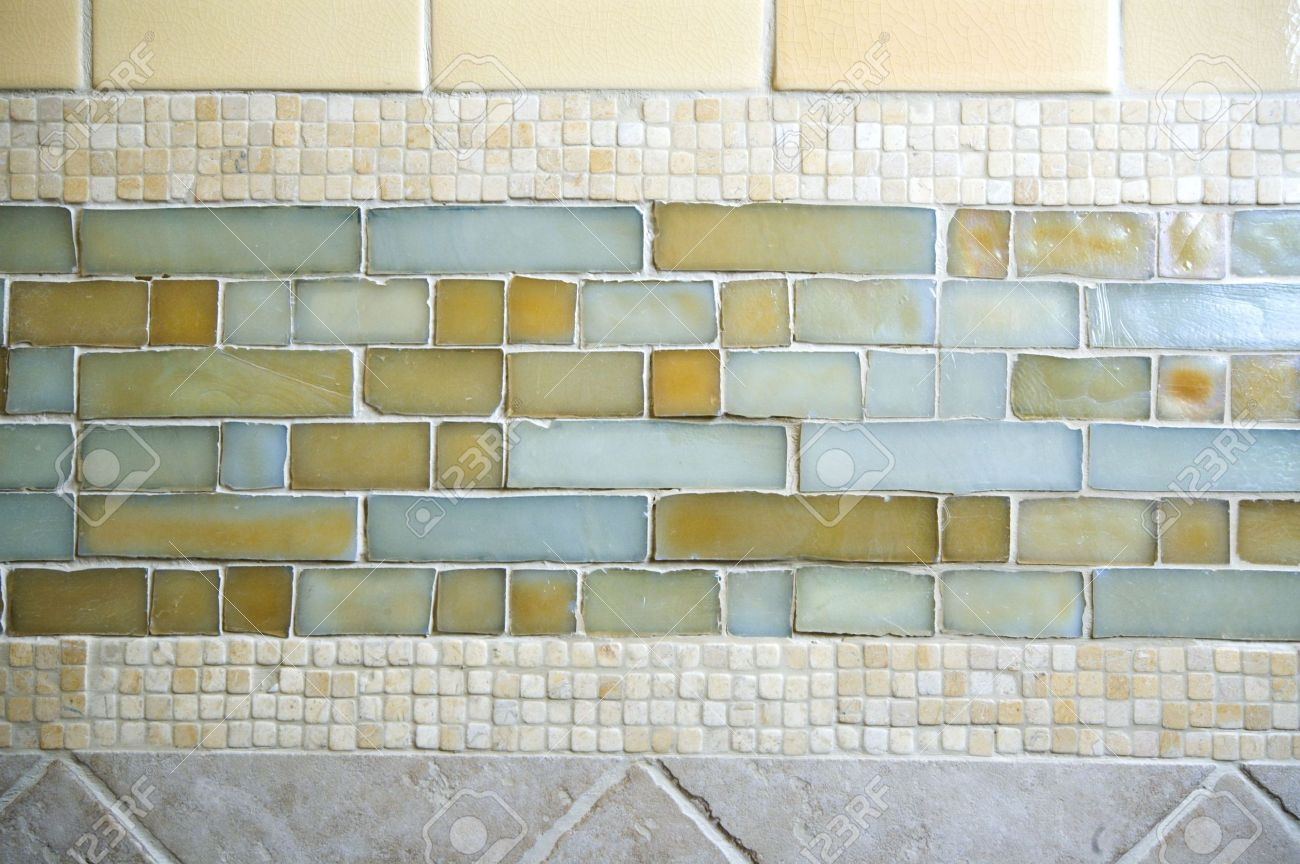 Detail Custom Tile Work Bathroom Backsplash Wall Stock Photo ...
