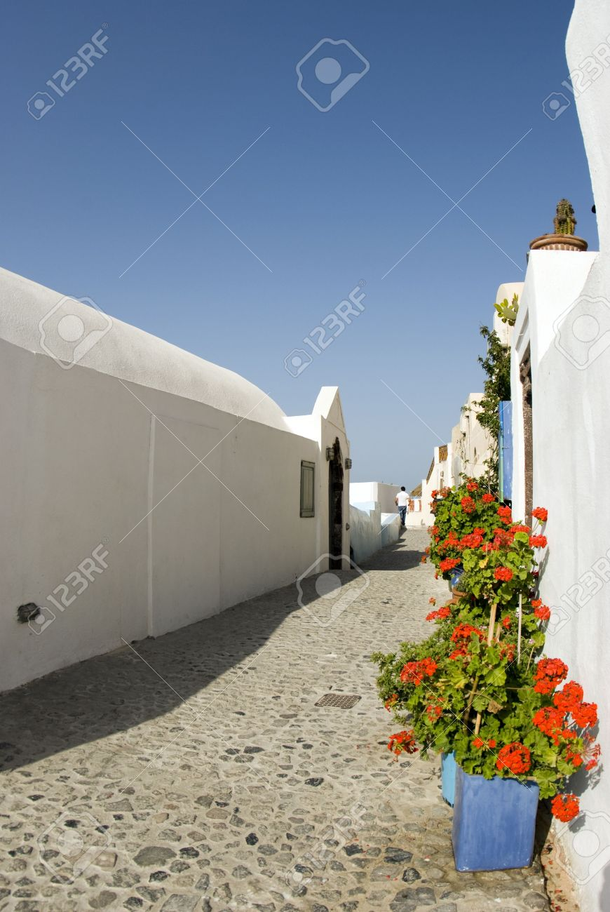 street scene with flowers greek islands santorini greece paros mykonos cyclades architechture Stock Photo - 1353866