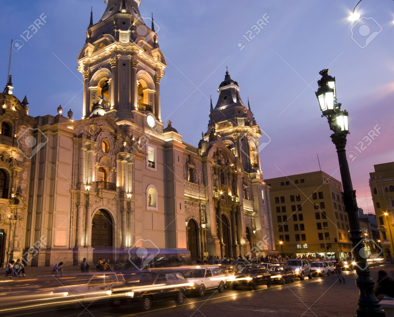 catedral at night on plaza de armas also known as plaza mayor lima peru Stock Photo - 3242689