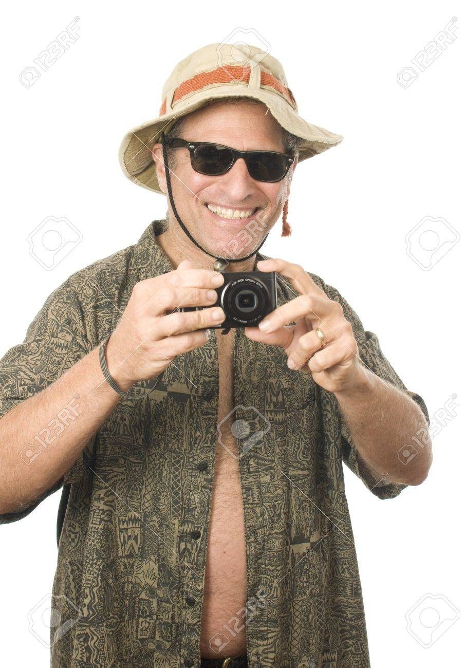 middle age senior tourist male wearing funny sun hat sunglasses and taking  photo with digital camera 7122b34c4a6