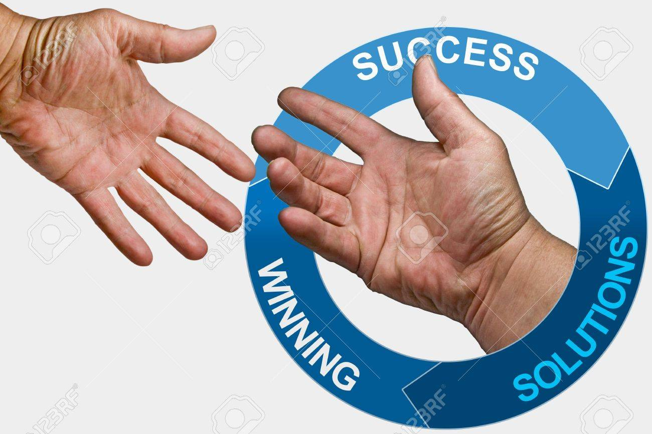 slogans on a circle with two hands Stock Photo - 3408107