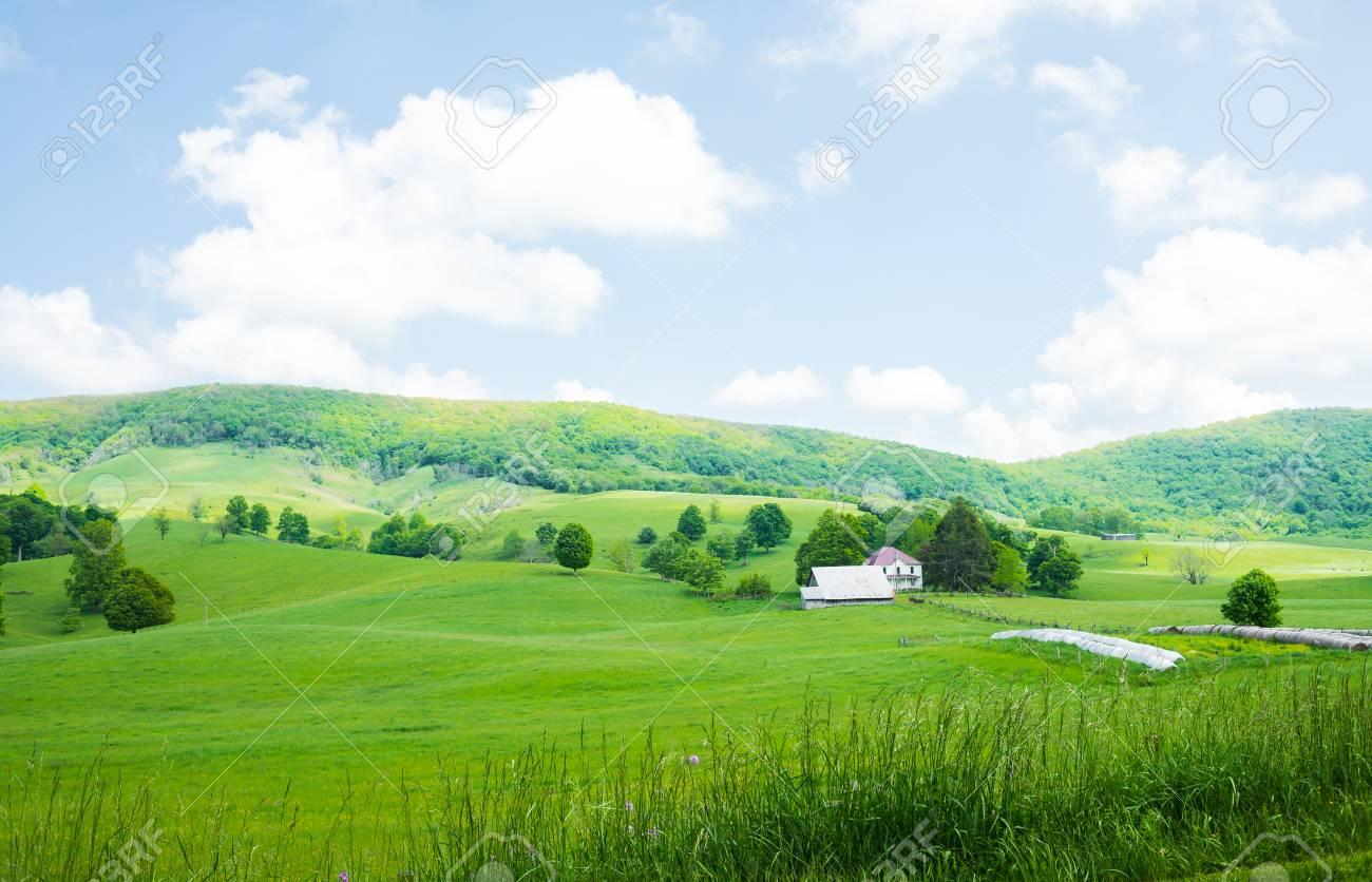 farm scene in burkes garden vagreen grassland blue sky stock photo 103762938 - Burkes Garden Va