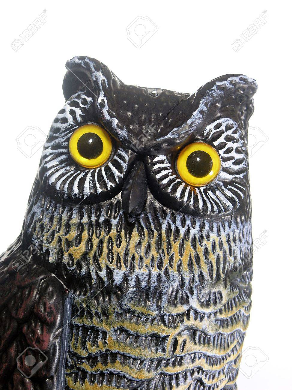 Owl Figure Statue Used In Garden As Pest Control And Scarecrow