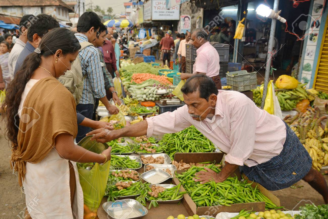 Mumbai, India - November 6, 2015 - Vegetable traders on indian