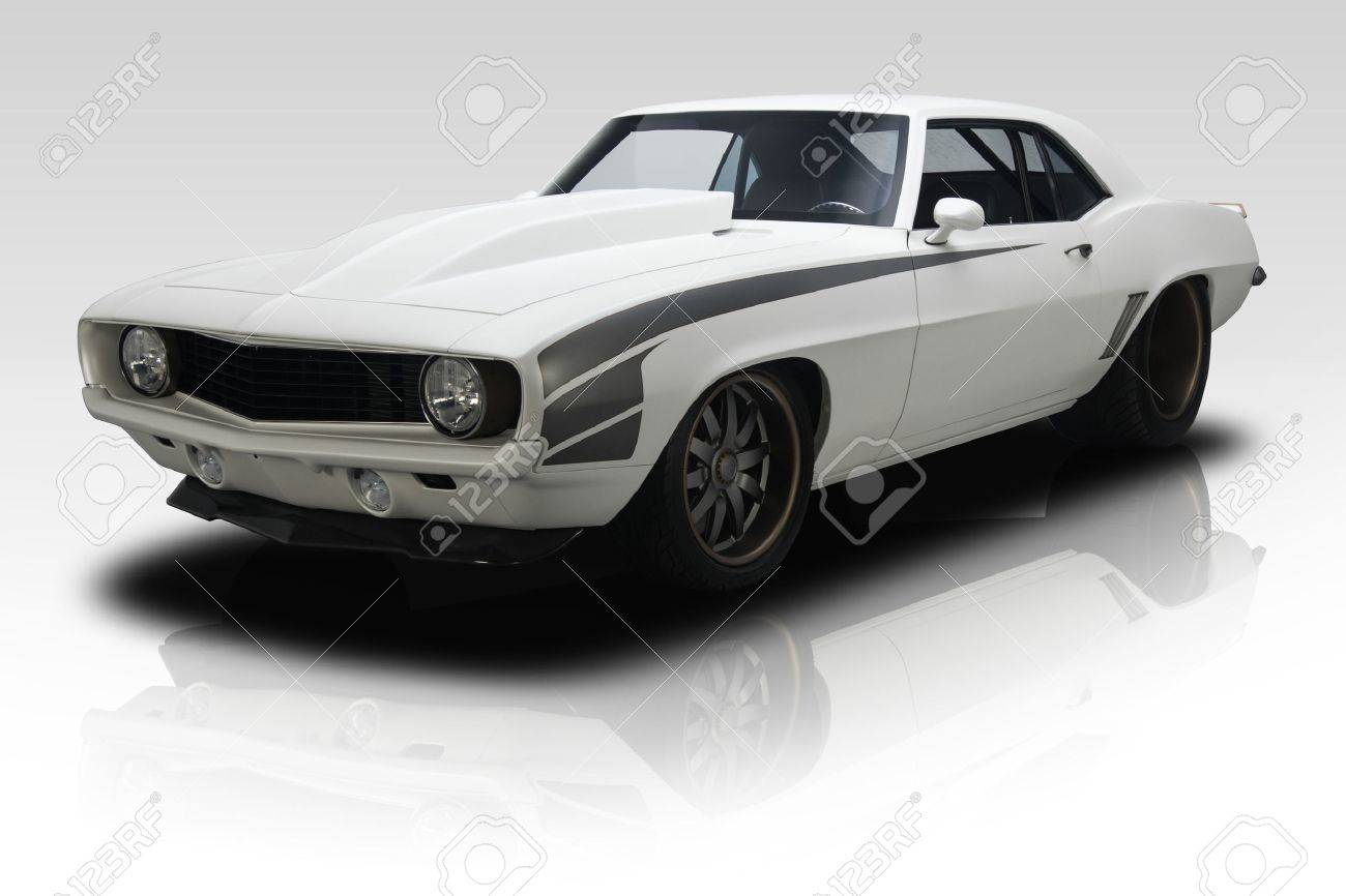 White 1969 Era Muscle Car On Gradient Background Stock Photo ...