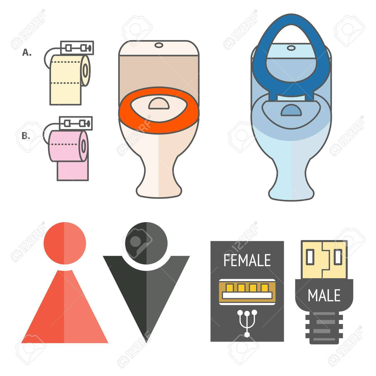 WC Logo. Illustrations Denoting Male Or Female Toilet. Various Funny ...