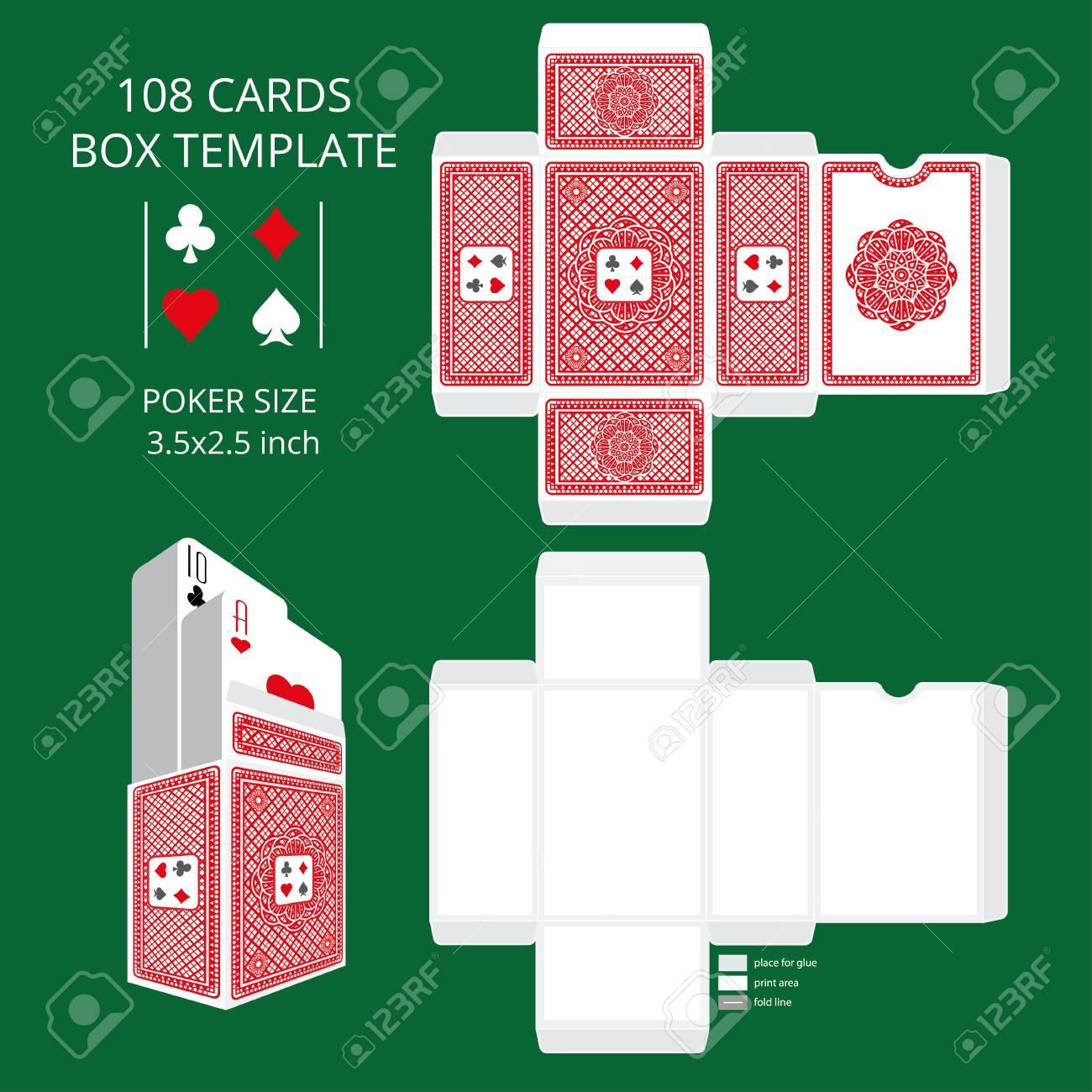 Poker Card Size Tuck Box Template Vector Illustration Ready Design