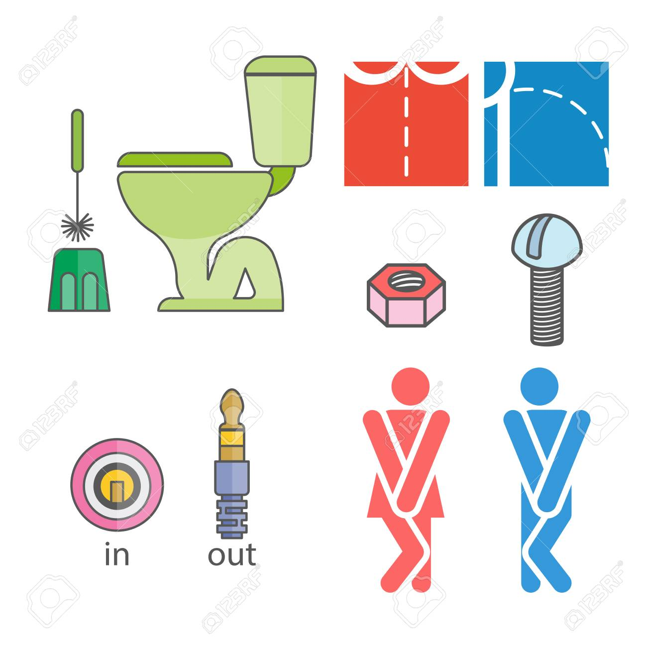 WC Logo. Illustrations Denoting Male Or Female Toilet. Various ...