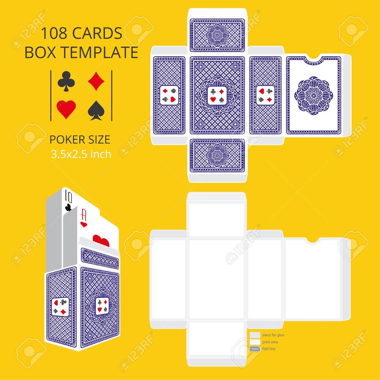 Poker Card Size Tuck Box Template.Vector Illustration Ready Design ...